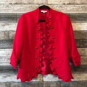 CLEO Women's Open Ruffle Front Red Jacket
